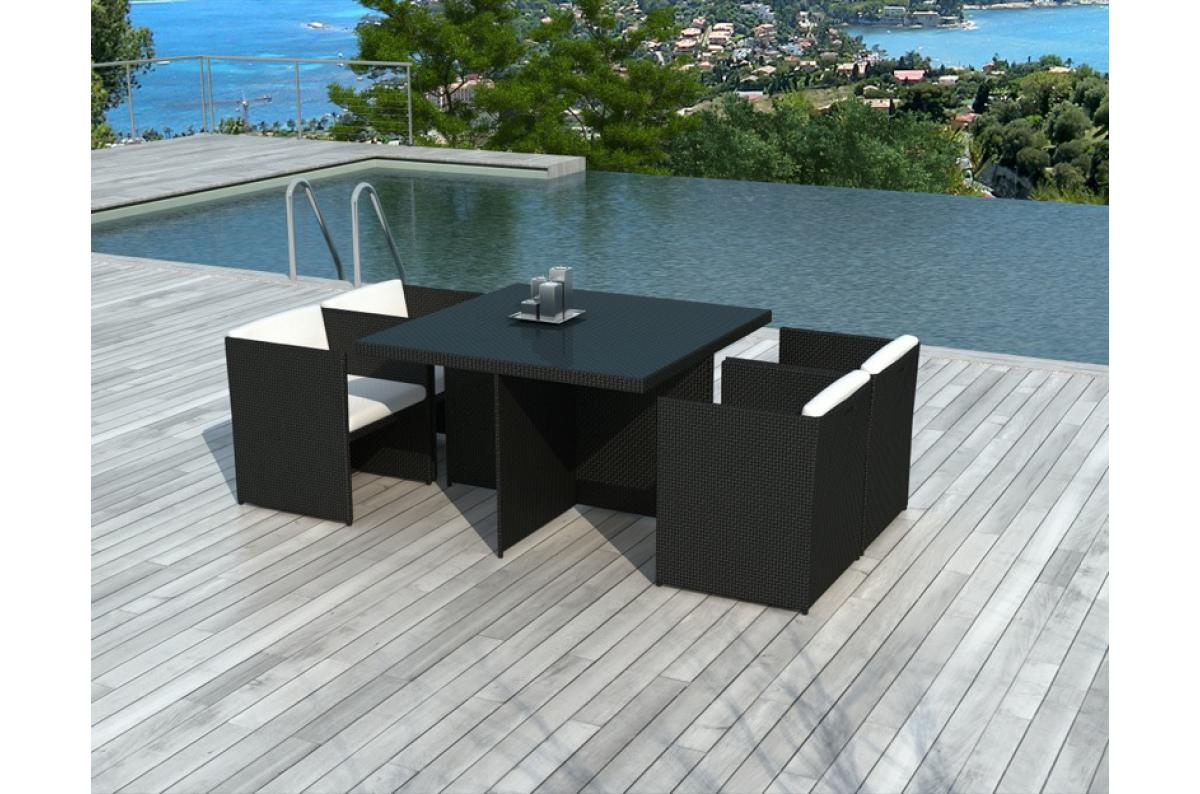 Table Et Chaises De Jardin Bicolores En Résine Tressée Alix Plus D's avec Table Et Chaises De Jardin Pas Cher