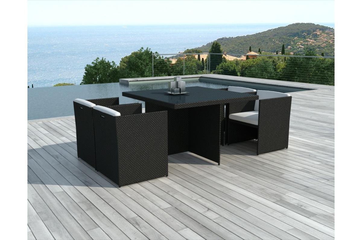 Table Et Chaises De Jardin Bicolores En Résine Tressée Alix Plus D's concernant Table Et Chaise De Jardin En Resine Tressee