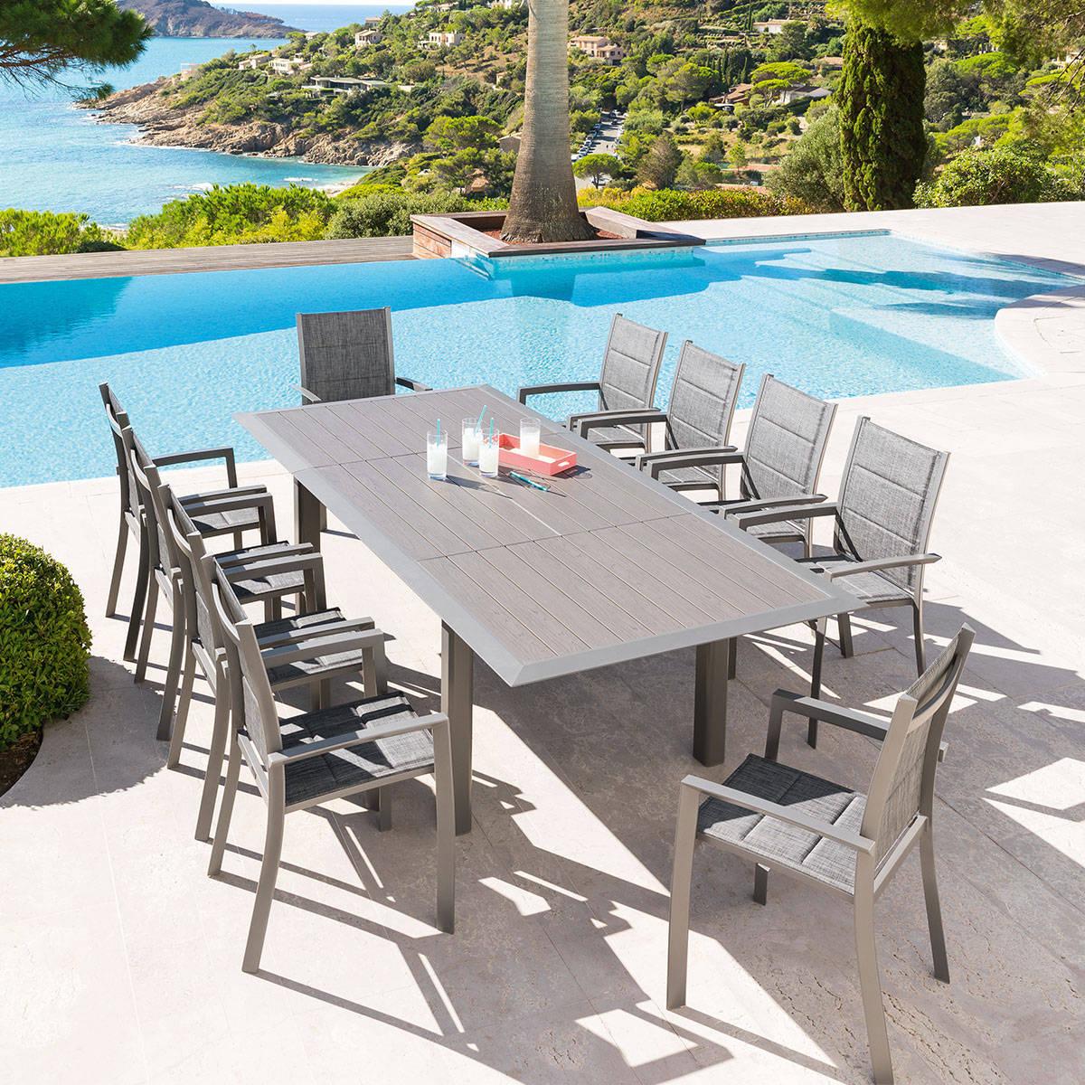 Table Extensible Allure Alu Gris/mastic - 10 Places concernant Table Jardin Hesperide