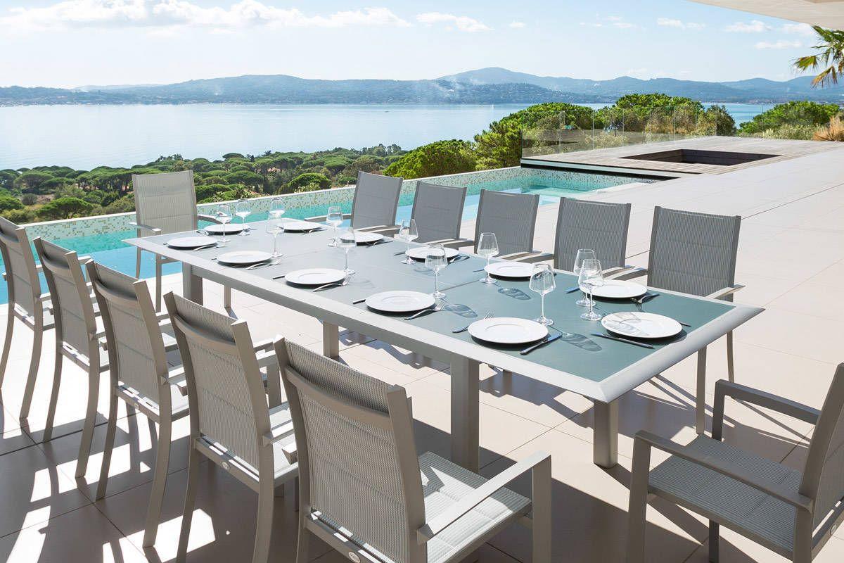 Table Extensible Allure En Verre Bleu Orage Silver 12 Places ... à Salon De Jardin Verre Trempé