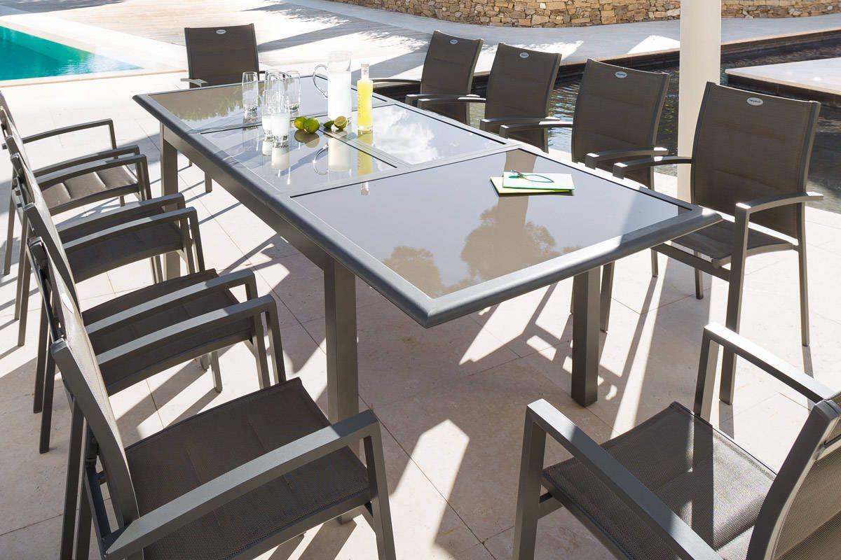 Table Extensible Azua Verre Taupe Mastic 10 Places ... encequiconcerne Salon De Jardin Aluminium Et Verre