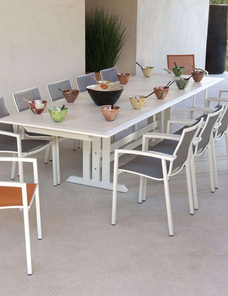 Table Extensible Blanc 100% Alu - Les Jardins Vente Privée ... avec Vente Privée Salon De Jardin