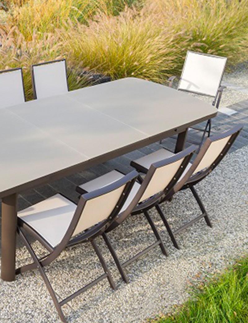 Table Extensible En Alu Et Verre Trempé Allonge Automatique ... encequiconcerne Table De Jardin Aluminium Et Verre