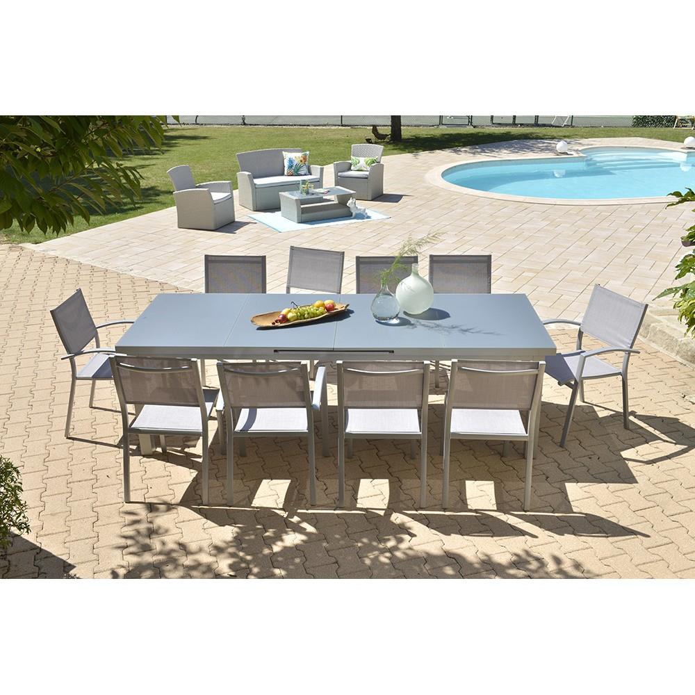 Table Extensible Philadelphie En Aluminium concernant Table De Jardin Dessus Verre