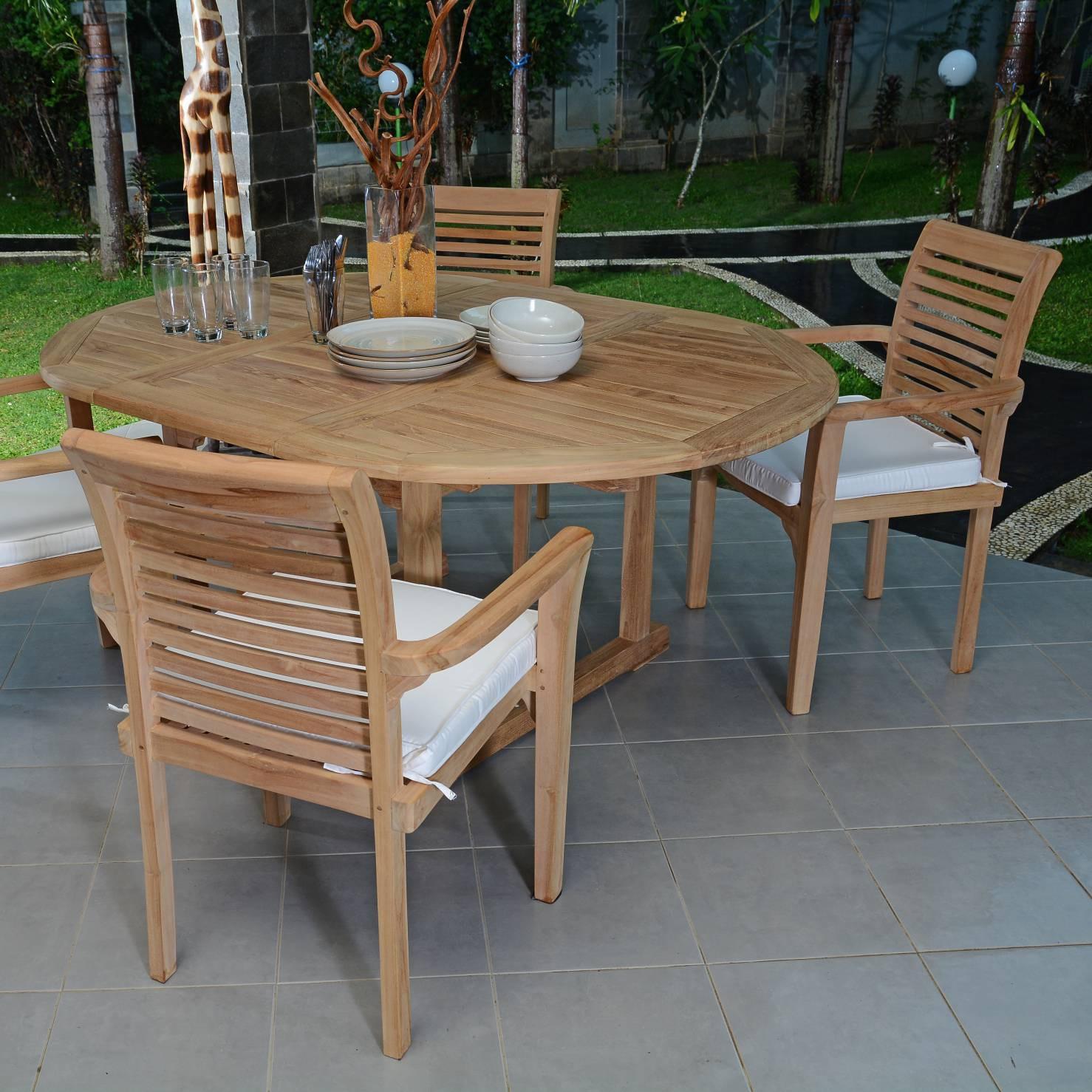 Table Extensible Ronde En Teck Ecograde© Roma 120/170 X120 Cm avec Table De Jardin Ronde En Bois