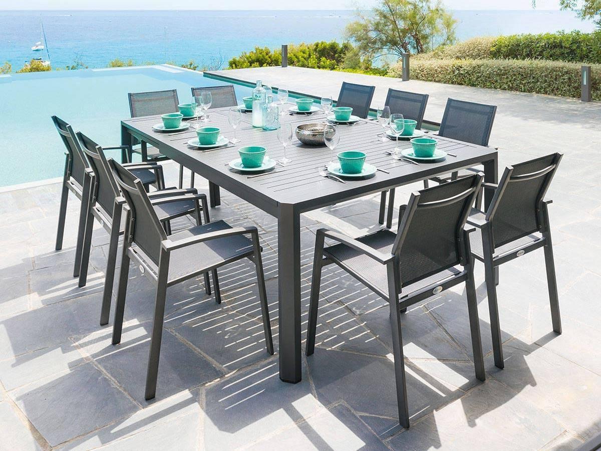 Table Extensible Séville 8/10 Places Graphite avec Table Jardin 6 Personnes