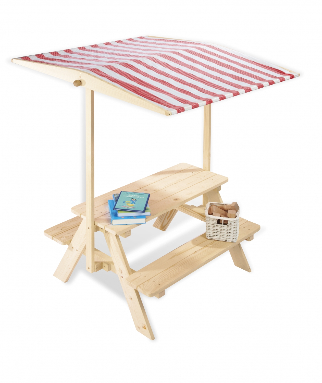 Table Extérieur Enfant Avec Bancs Et Parasol destiné Table De Jardin En Bois Avec Banc Integre