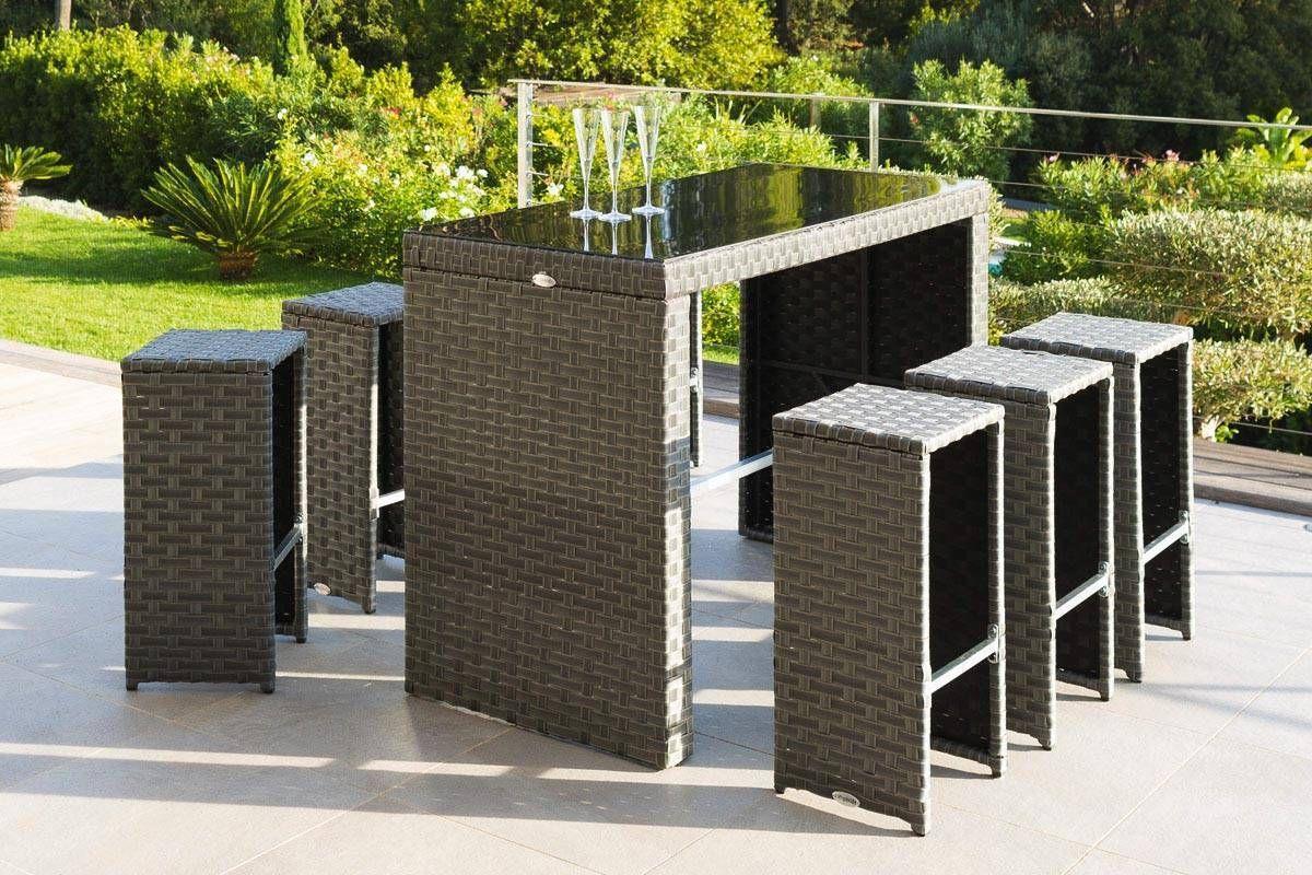 Table Haute Et 6 Tabourets Hauts Tinos Blue Stone | Mobilier ... avec Salon De Jardin Table Haute