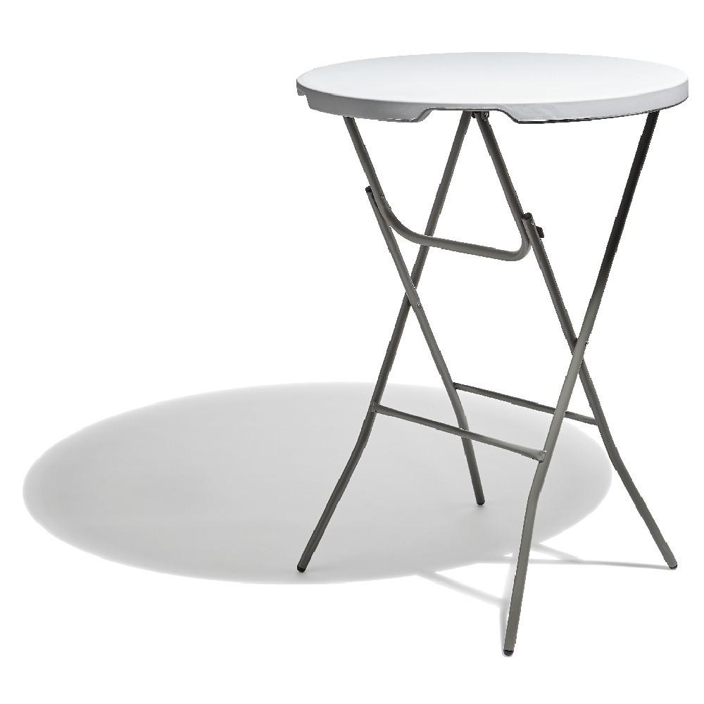 Table Haute Ronde Pliante Fiesta Blanche dedans Table De Jardin Ronde Pas Cher