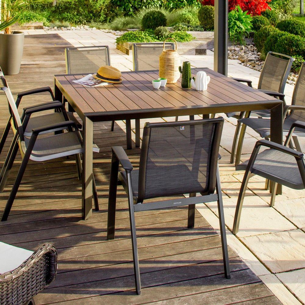 Table Jardin Alu Et Latte Bois - Table De Jardin La Maison ... avec Gamm Vert Salon De Jardin