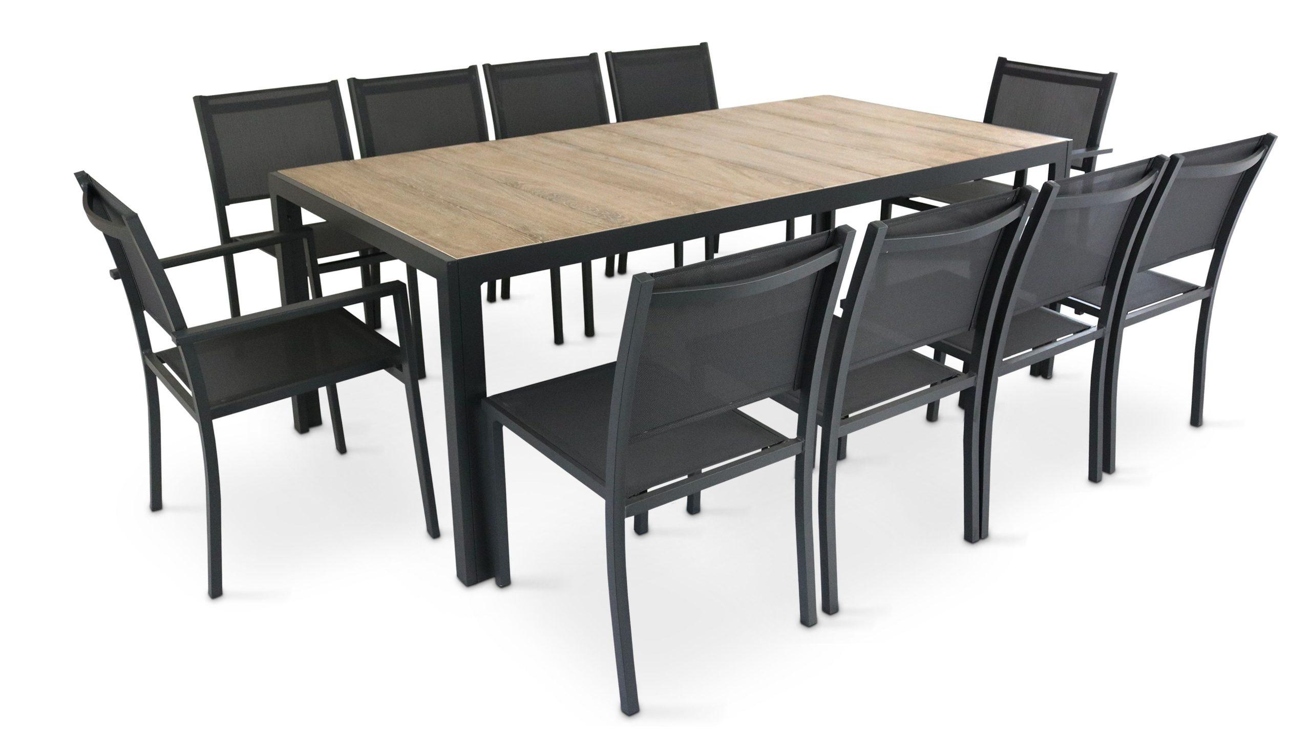 Table Jardin Aluminium Et Céramique   Oviala destiné Table De Jardin Promo