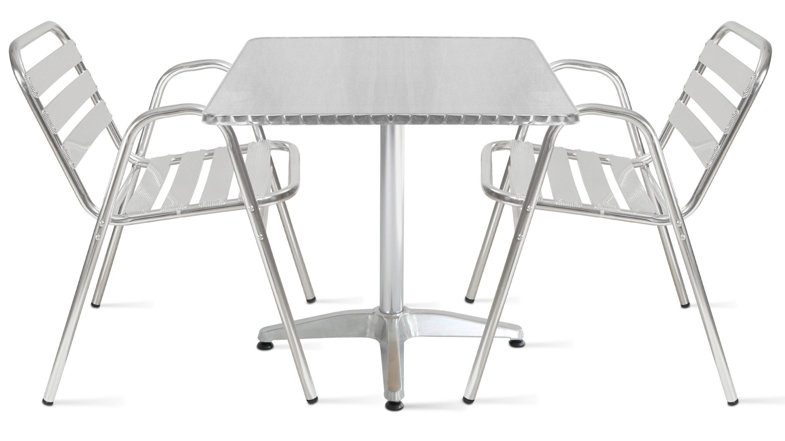 Table Jardin Bistro Carrée Aluminium + 2 Fauteuils encequiconcerne Chaise Bistrot Aluminium Jardin
