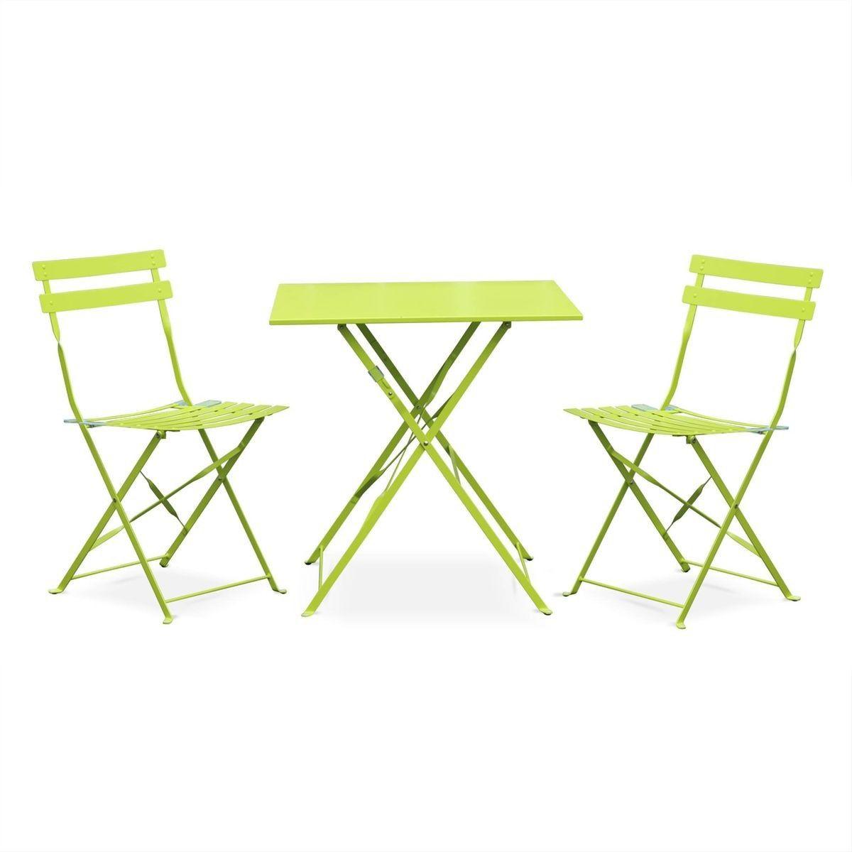 Table Jardin Bistrot Pliable - Emilia Carrée Verte- Table ... pour Table Jardin Verte