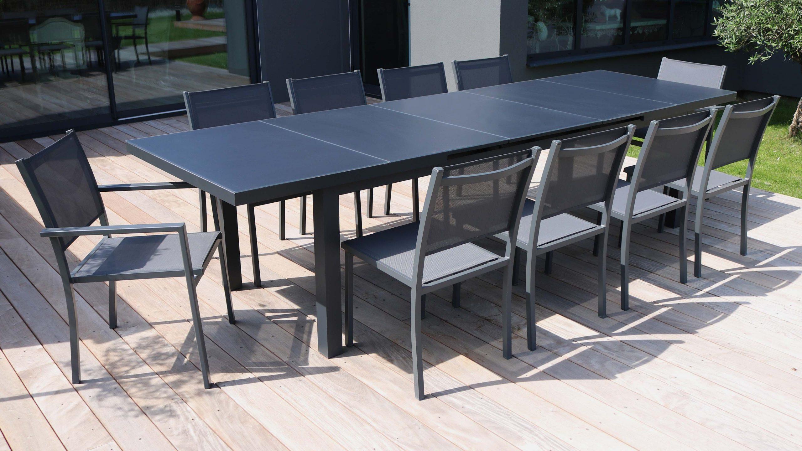 Table Jardin Extensible Rallonge 256/320 Cm 10 Places avec Table De Jardin Aluminium Et Composite