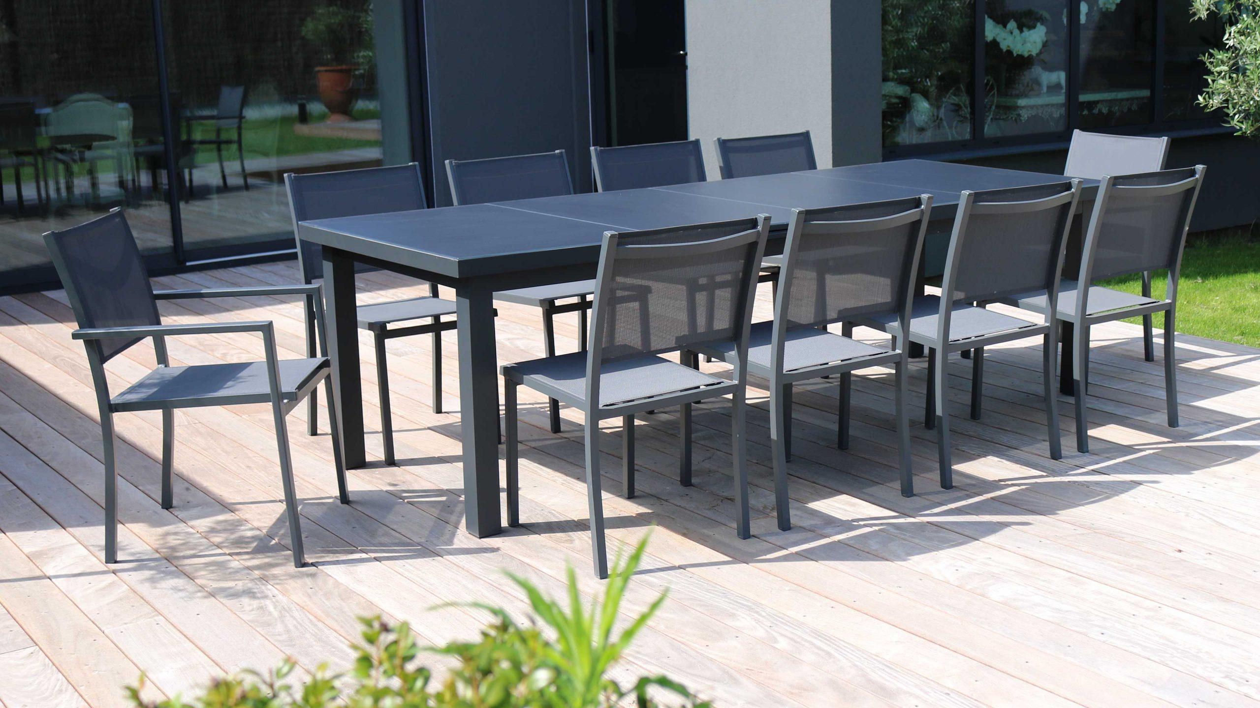 Table Jardin Extensible Rallonge 256/320 Cm 10 Places pour Table De Jardin Extensible Pas Cher