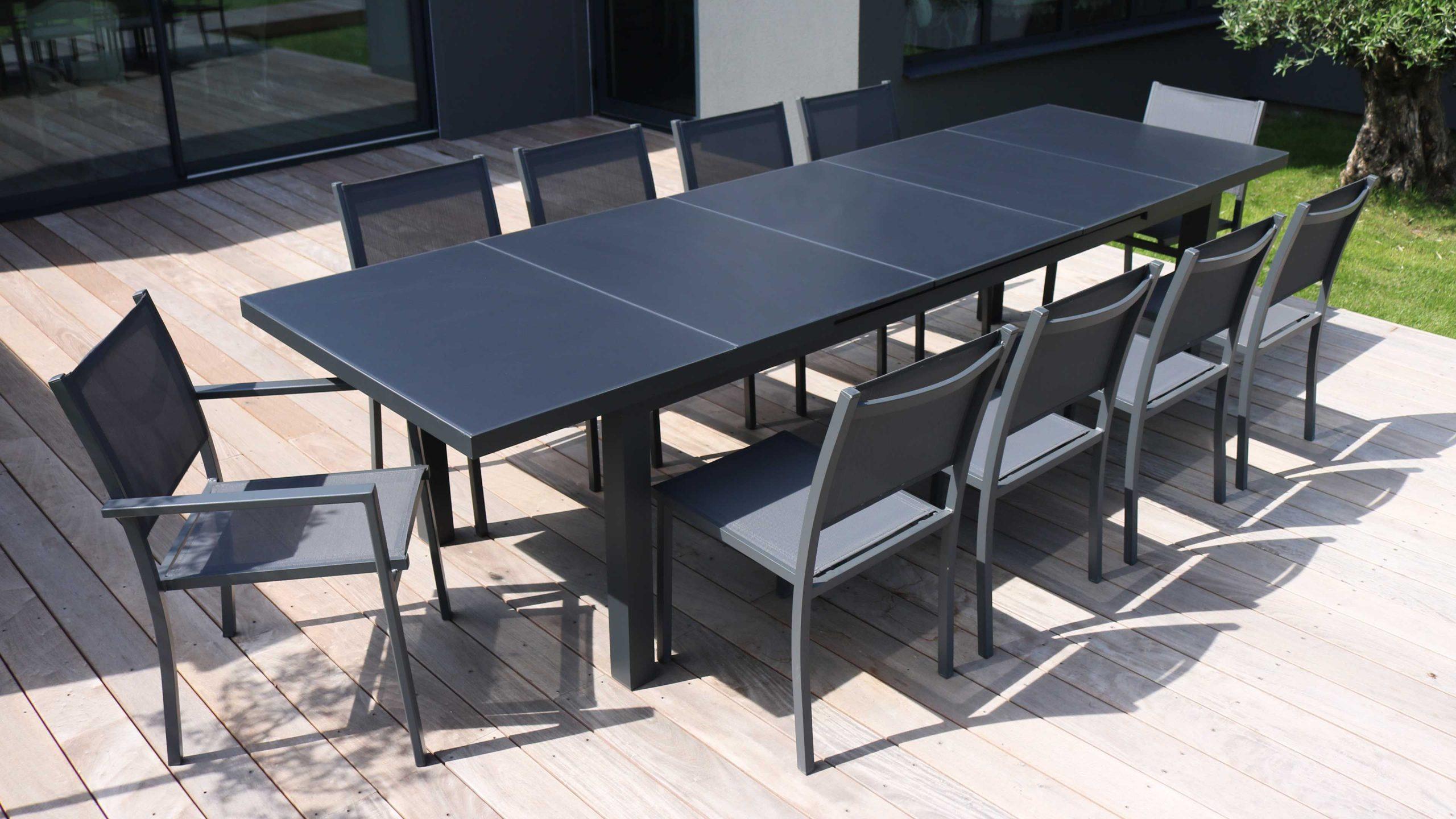 Table Jardin Extensible Rallonge Aluminium 256/320Cm 12 Places avec Table De Jardin En Aluminium Avec Rallonge