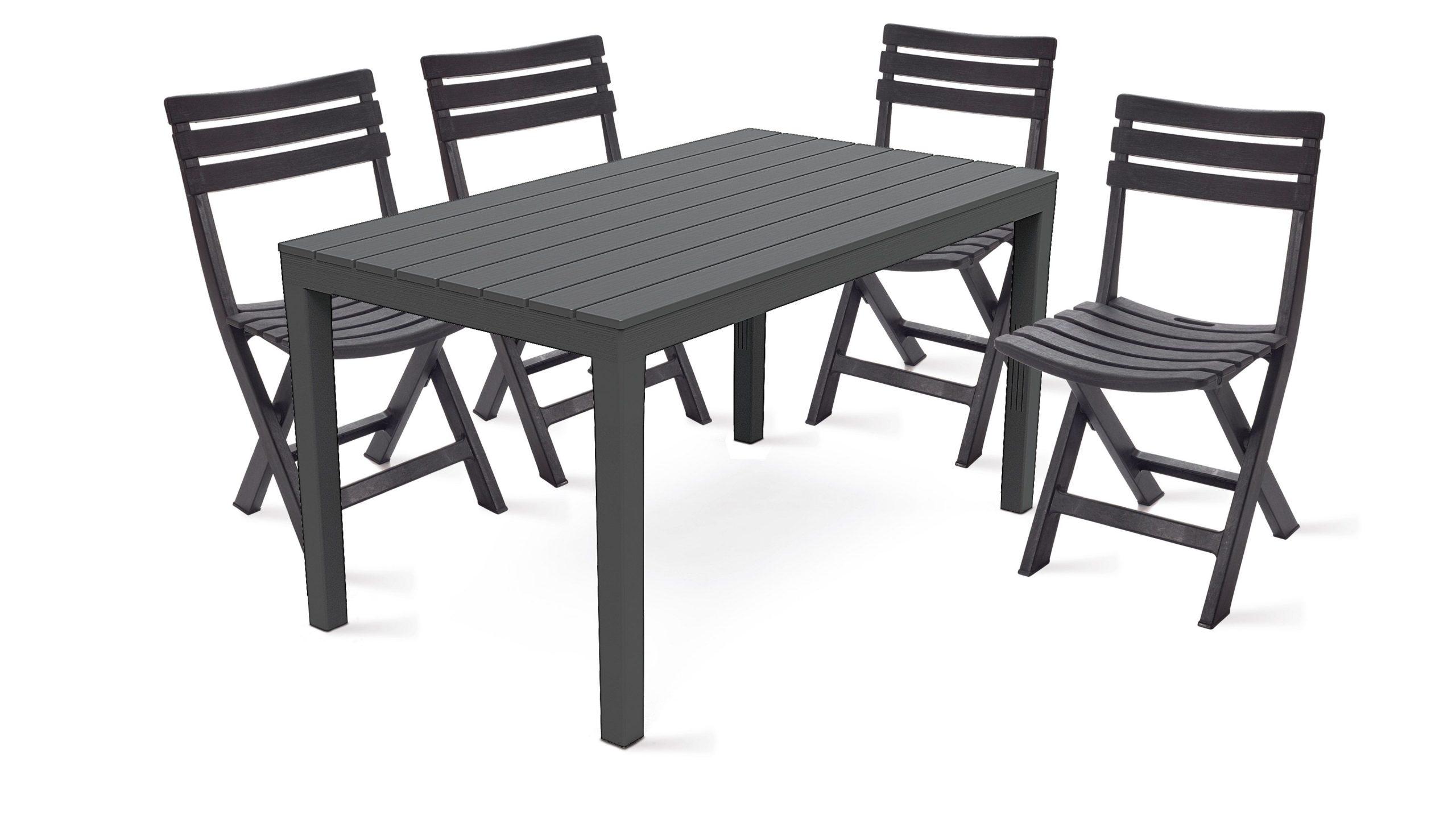 Table Jardin Plastique Et Chaises Pliantes concernant Salon De Jardin En Pvc