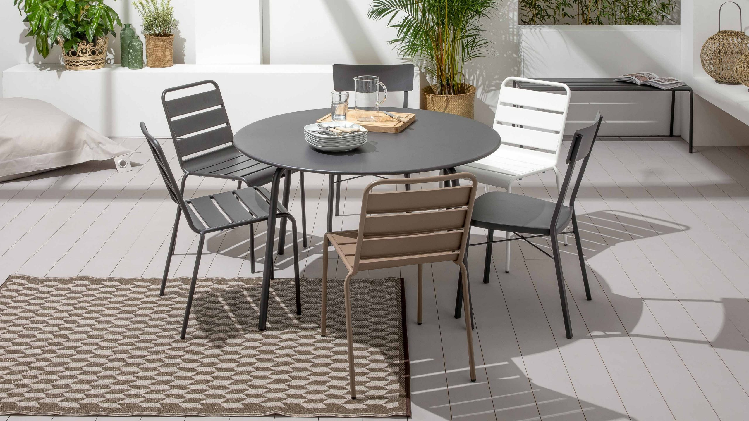 Table Jardin Ronde Metal   Oviala avec Table Jardin Ronde Pas Cher