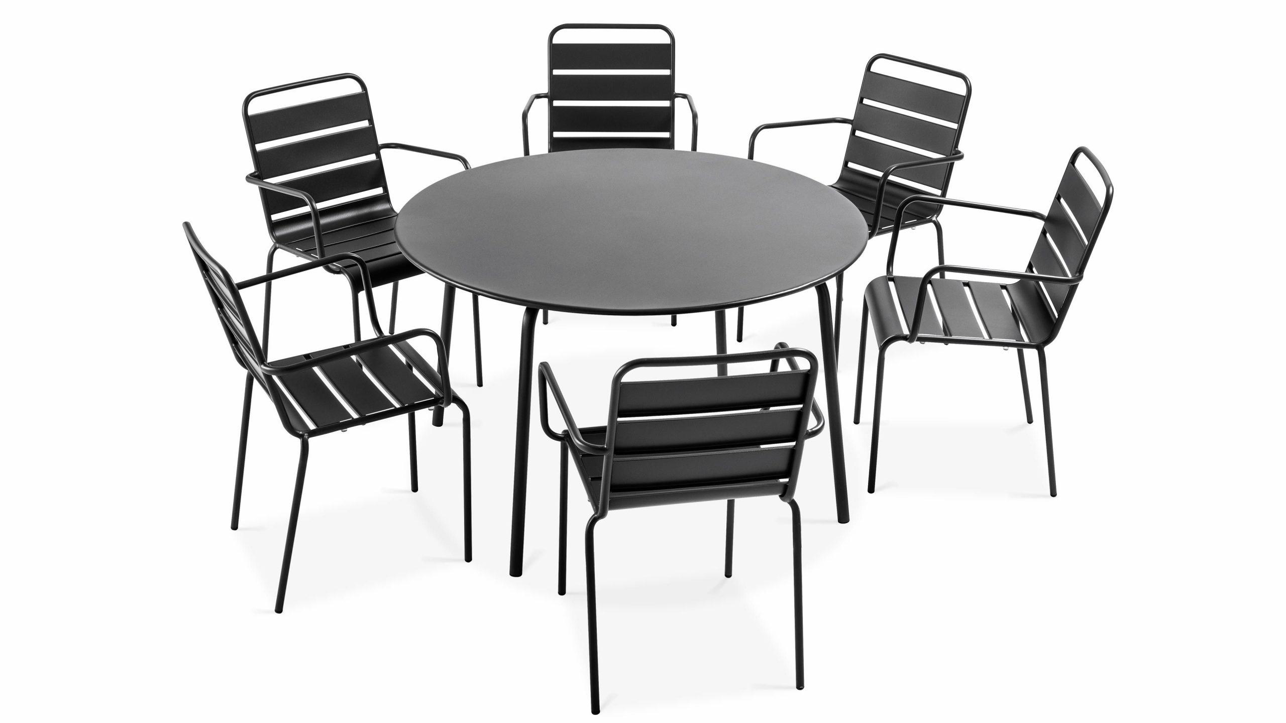 Table Jardin Ronde Metal   Oviala destiné Table Jardin Ronde Pas Cher
