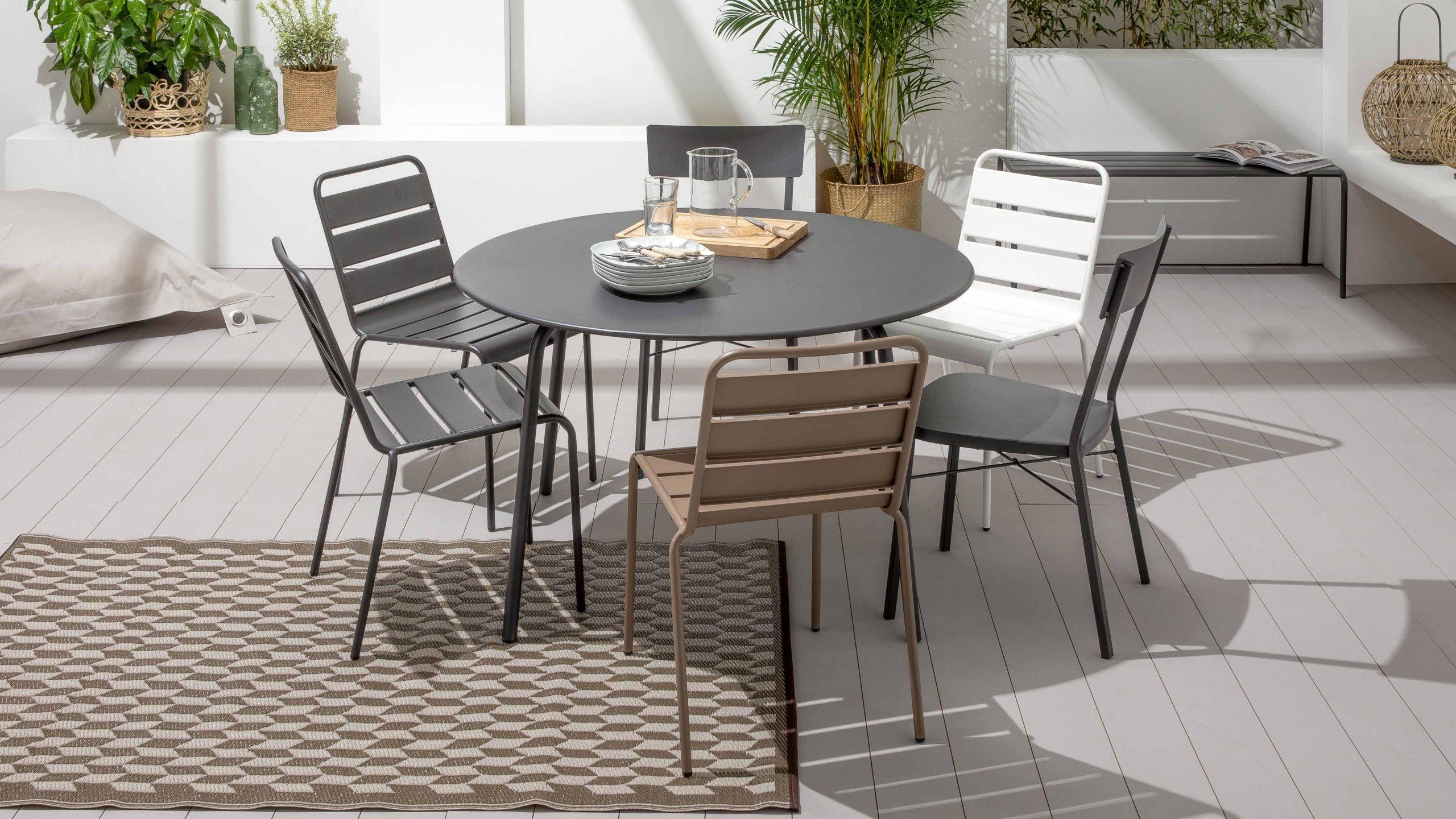 Table Jardin Ronde Metal | Oviala intérieur Table De Jardin Ronde Pas Cher