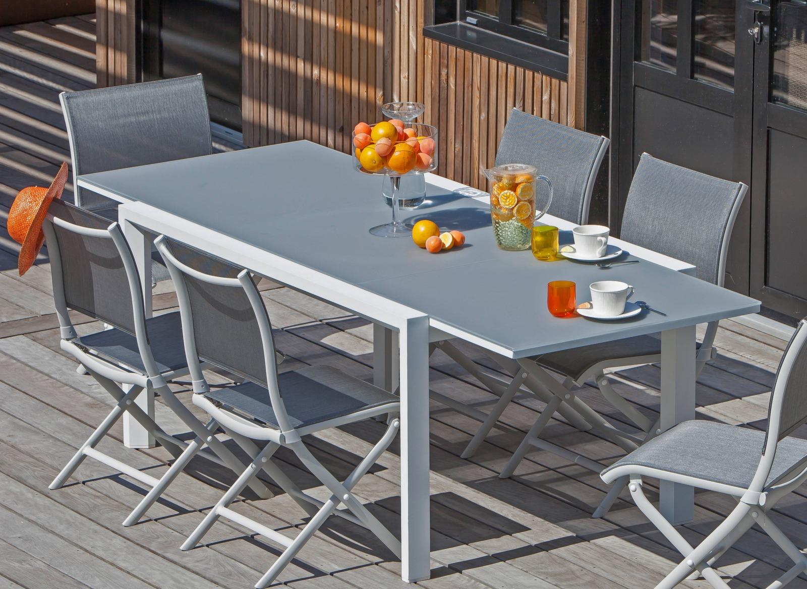 Table Juan 160/240 Cm, Plateau Verre dedans Table De Jardin Dessus Verre