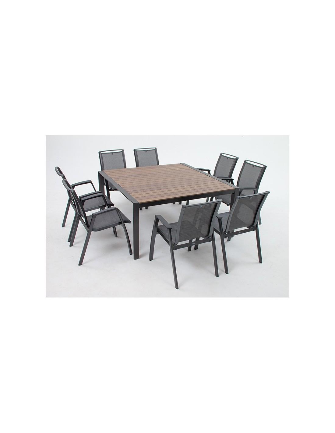 Table Malaga 150 X 150 Cm Anthracite Et Plateau Effet Bois ... serapportantà Kettler Mobilier De Jardin