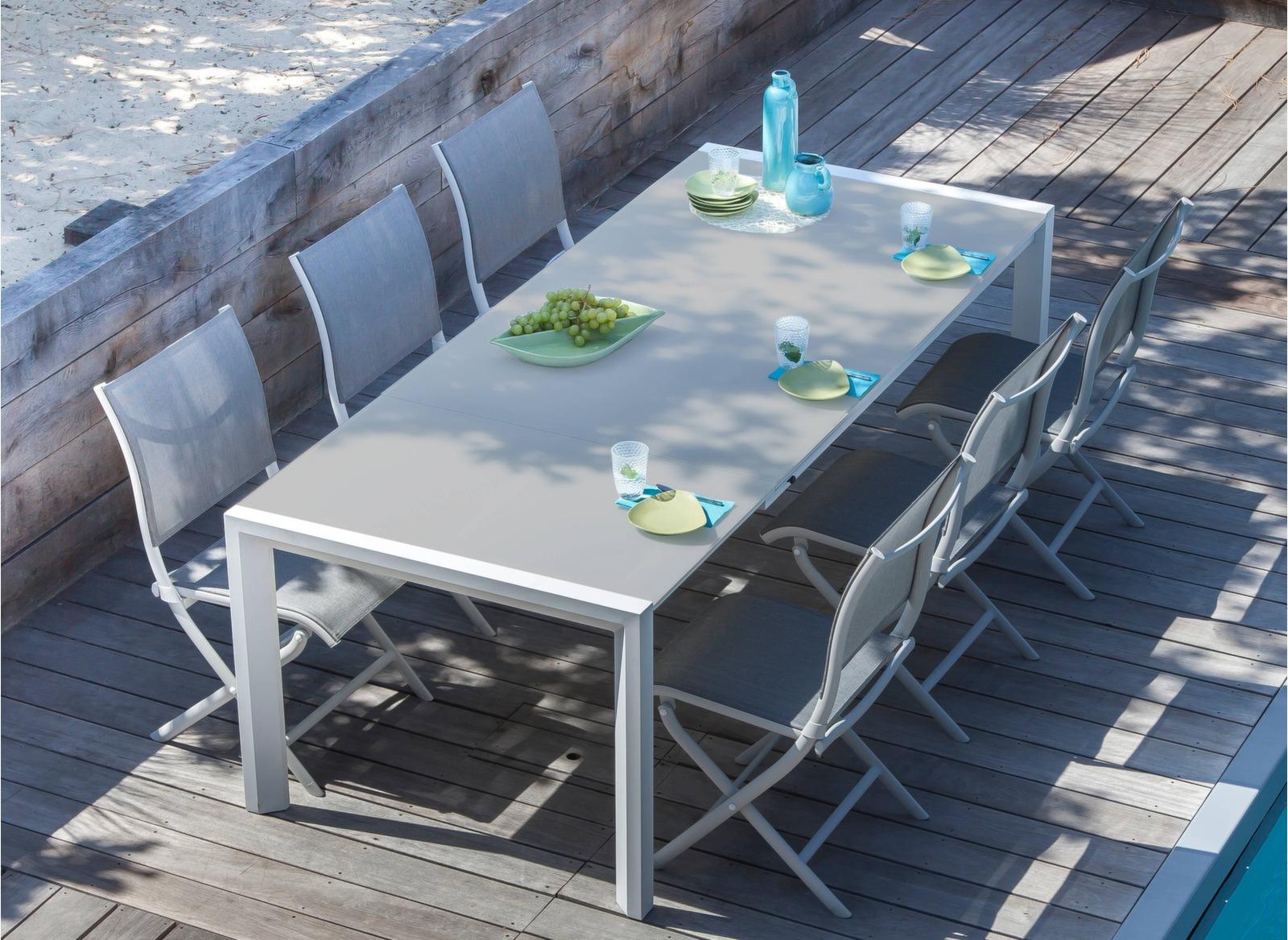 Table Milo 178/238 Cm, Plateau Verre à Table De Jardin Dessus Verre