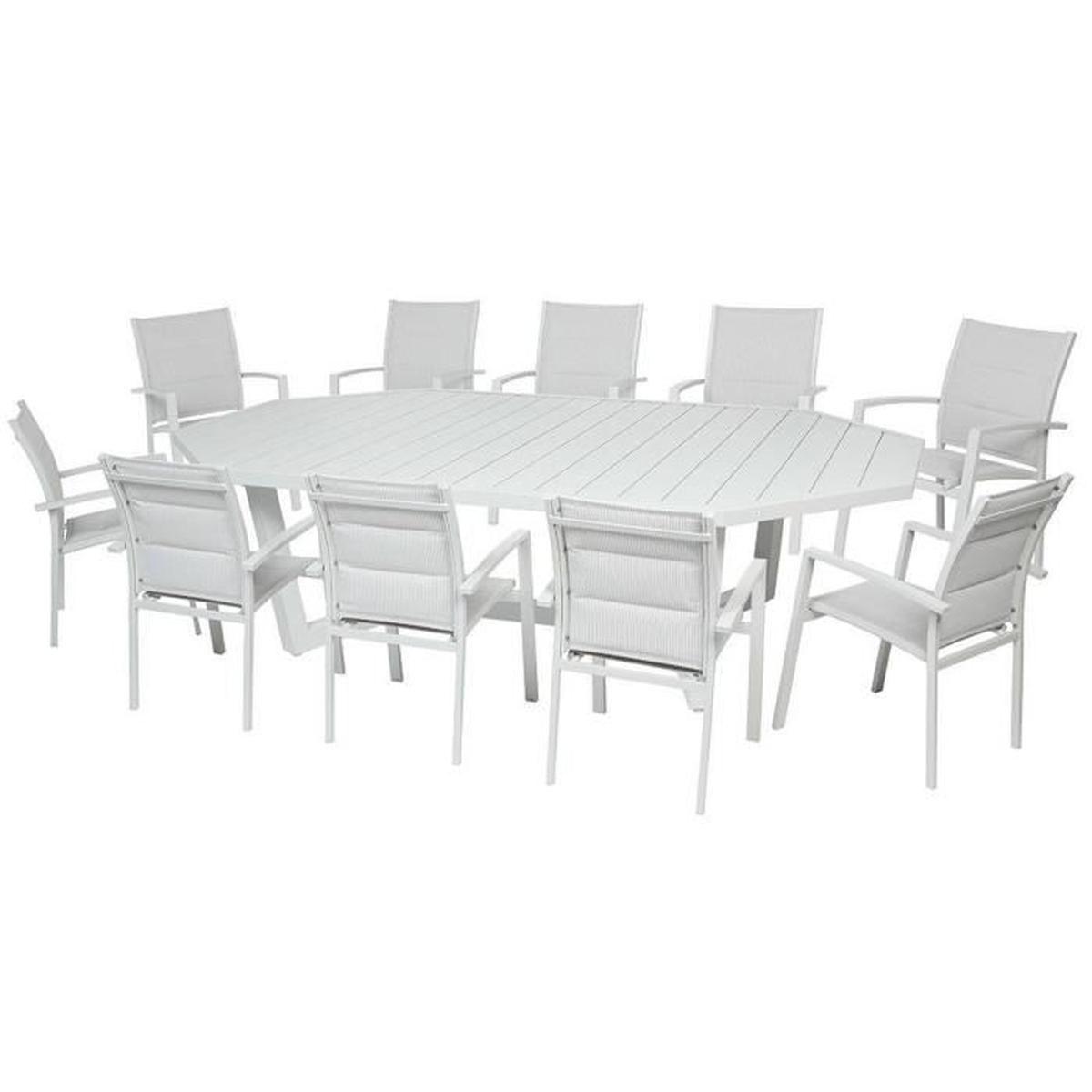 Table Octogonale En Aluminium Coloris Galet - Dim : L 274 X ... pour Table De Jardin C Discount