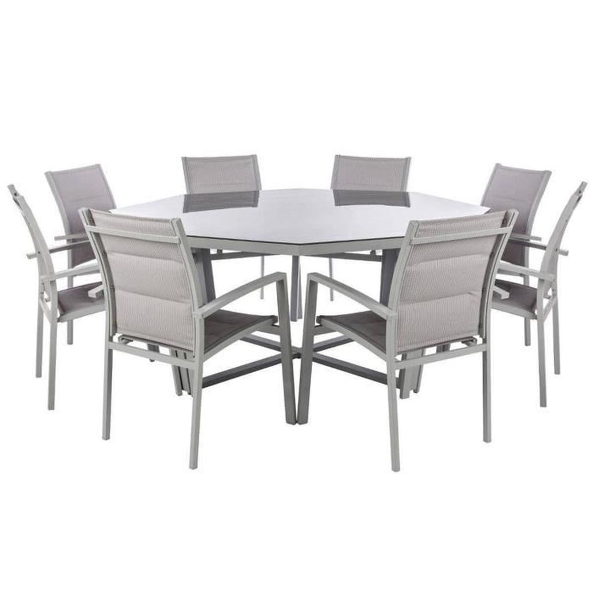 Table Octogonale En Aluminium Et Verre Trempé Coloris Galet ... dedans Table De Jardin Cdiscount