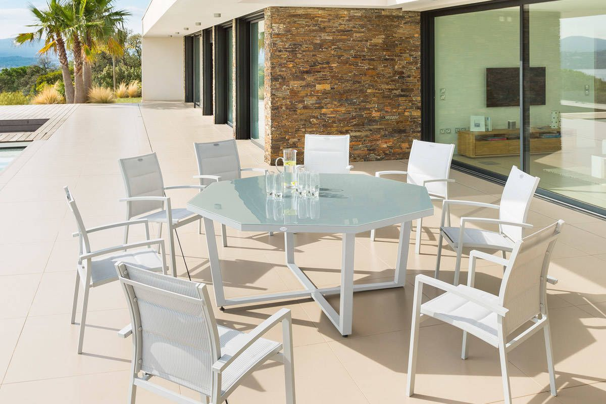 Table Octogonale Olympe Verre Galet 8 Places - Aluminum ... pour Table De Jardin Aluminium Et Verre