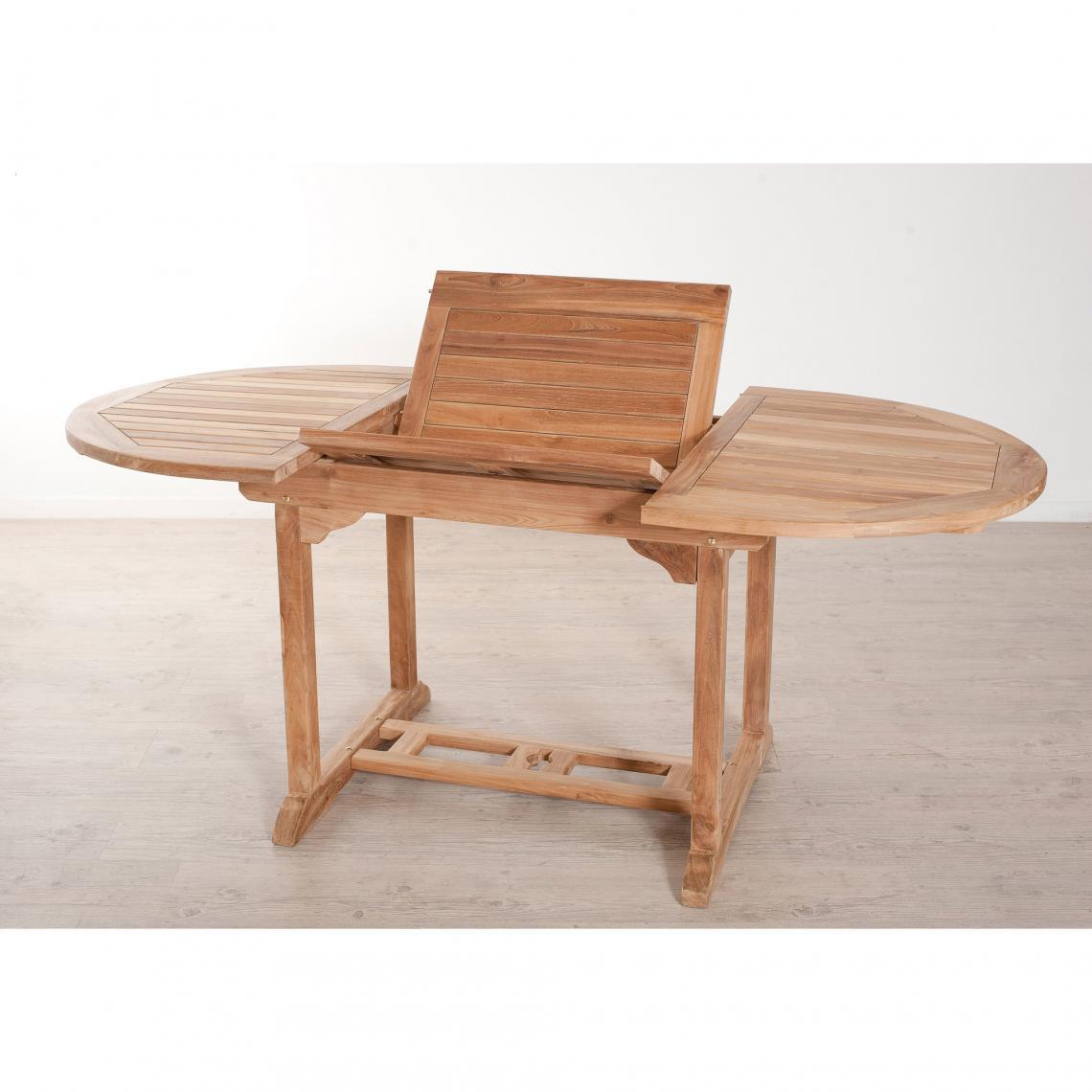 Table Ovale Extensible 4/6 Personnes En Teck Massif - Teck concernant Table Jardin 6 Personnes