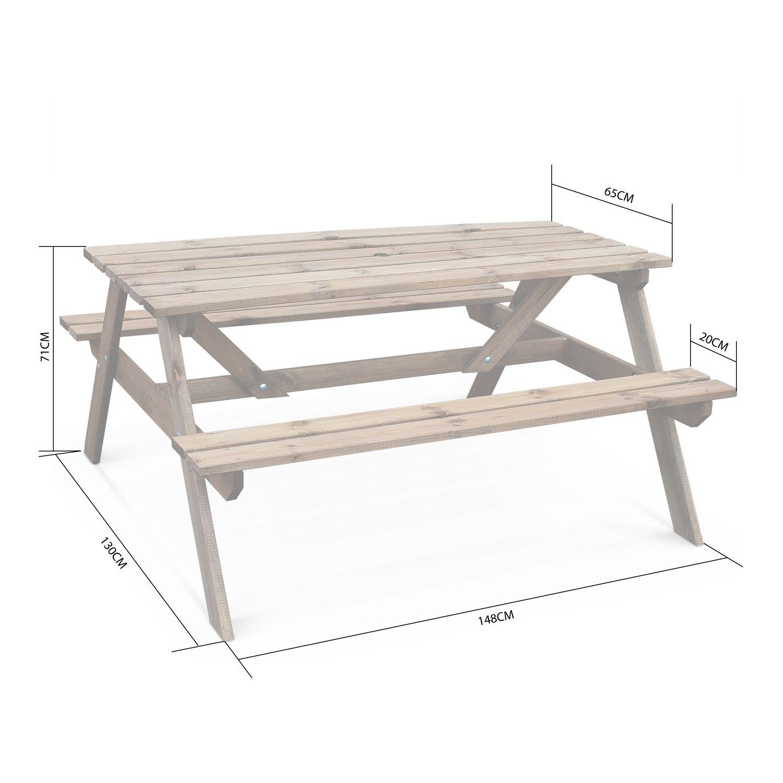 Table Picnic En Bois 150Cm 2 Bancs - Padano destiné Table De Jardin Pique Nique Bois