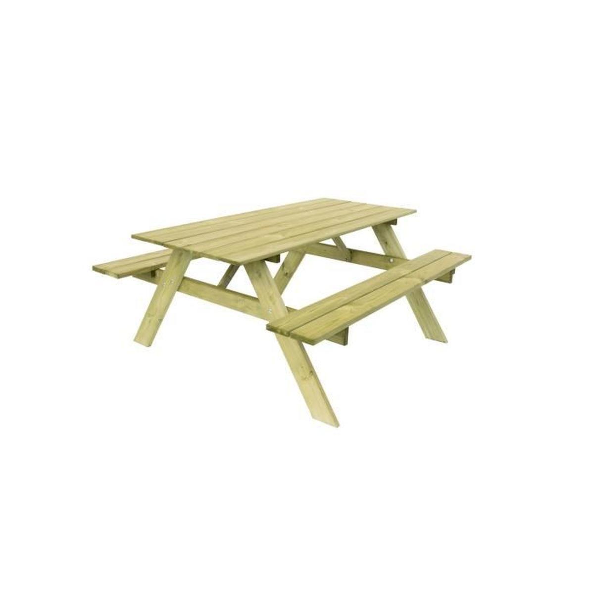 Table Pique-Nique Basic 165 Bois Naturel 165X154X75 Cm ... dedans Table De Jardin C Discount