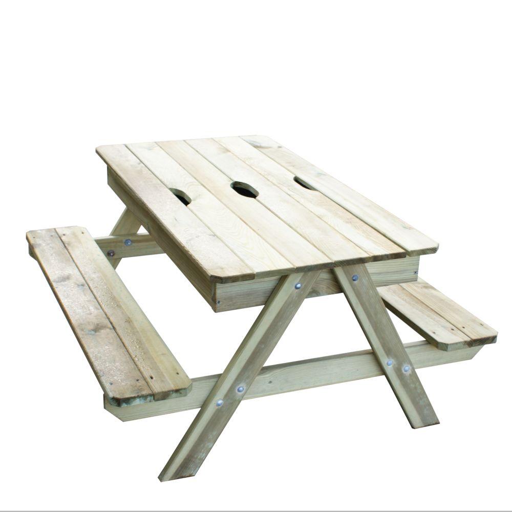 Table Pique-Nique Bois Avec Bac À Sable Sous Plateau Amovible serapportantà Table Jardin Bois Enfant