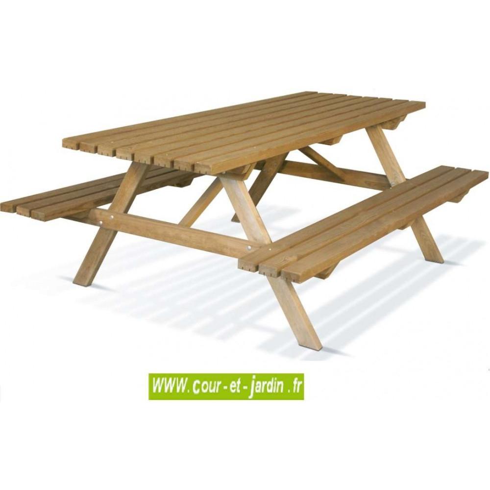 Table Pique Nique Bois, Avec Banc S, Table Picnic Bois, Pas ... tout Table De Jardin En Bois Avec Banc Integre