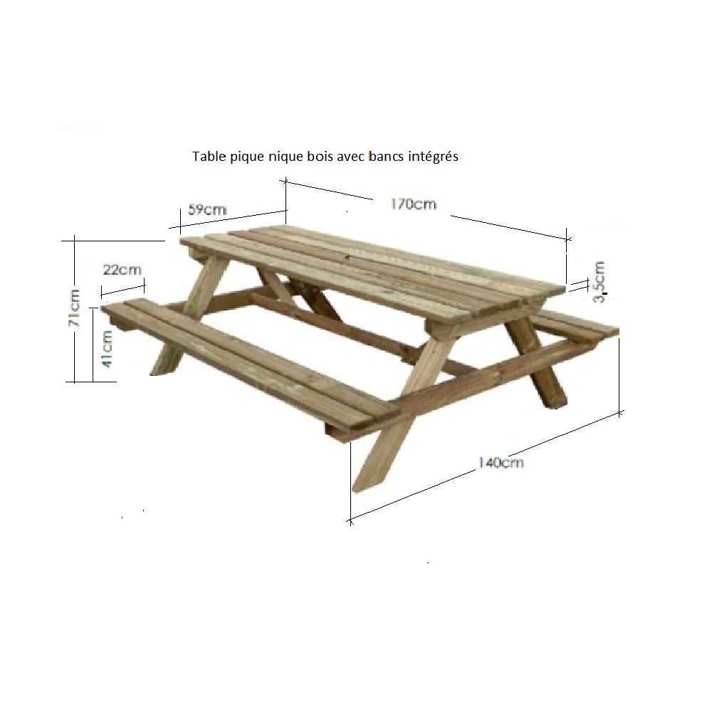 Table Pique-Nique Bois De 170 Cm - Table Picnic Bois 6 ... tout Table De Jardin En Bois Avec Banc Integre