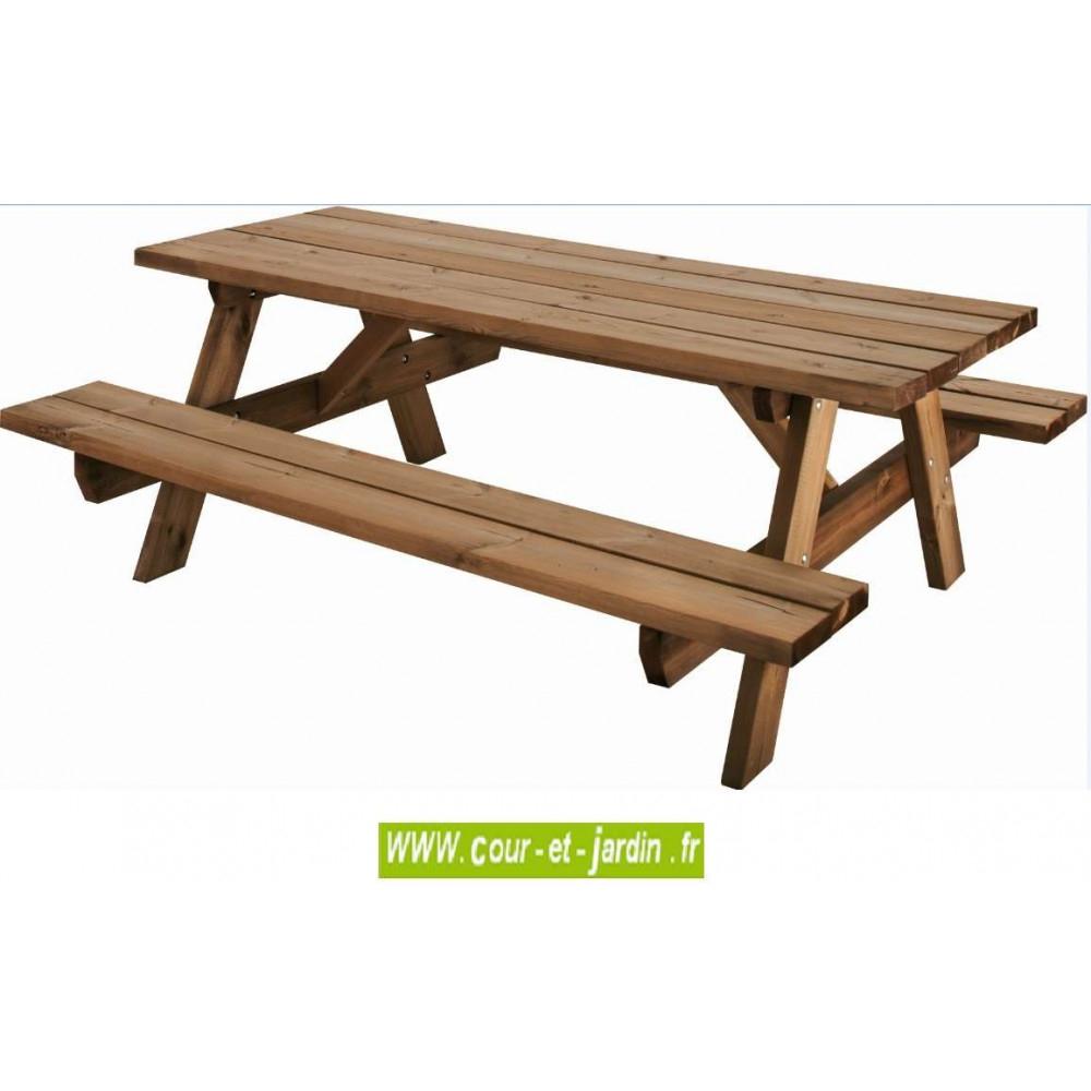 Table Pique-Nique Bois, Garden 200B - 6 Places - Table ... dedans Table De Jardin En Bois Avec Banc Integre