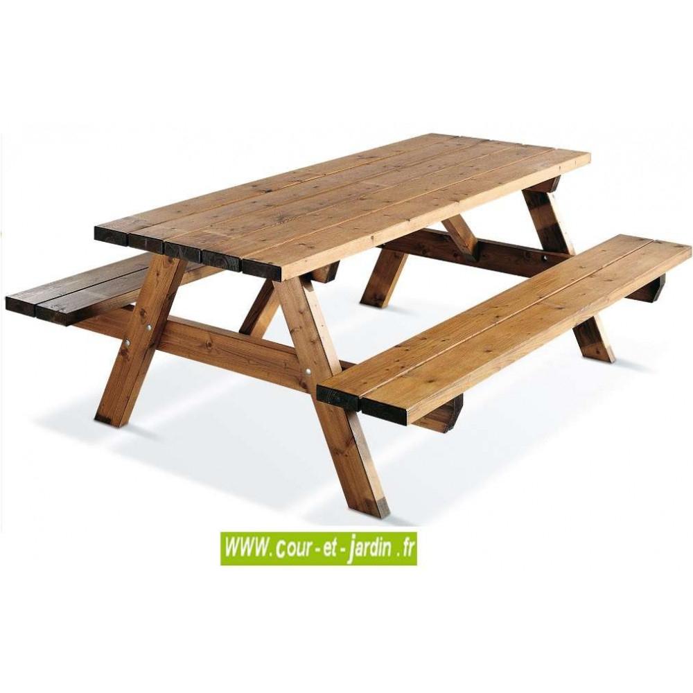Table Pique-Nique Bois, Garden 200B - 6 Places - Table ... encequiconcerne Table De Jardin En Bois Avec Banc Integre