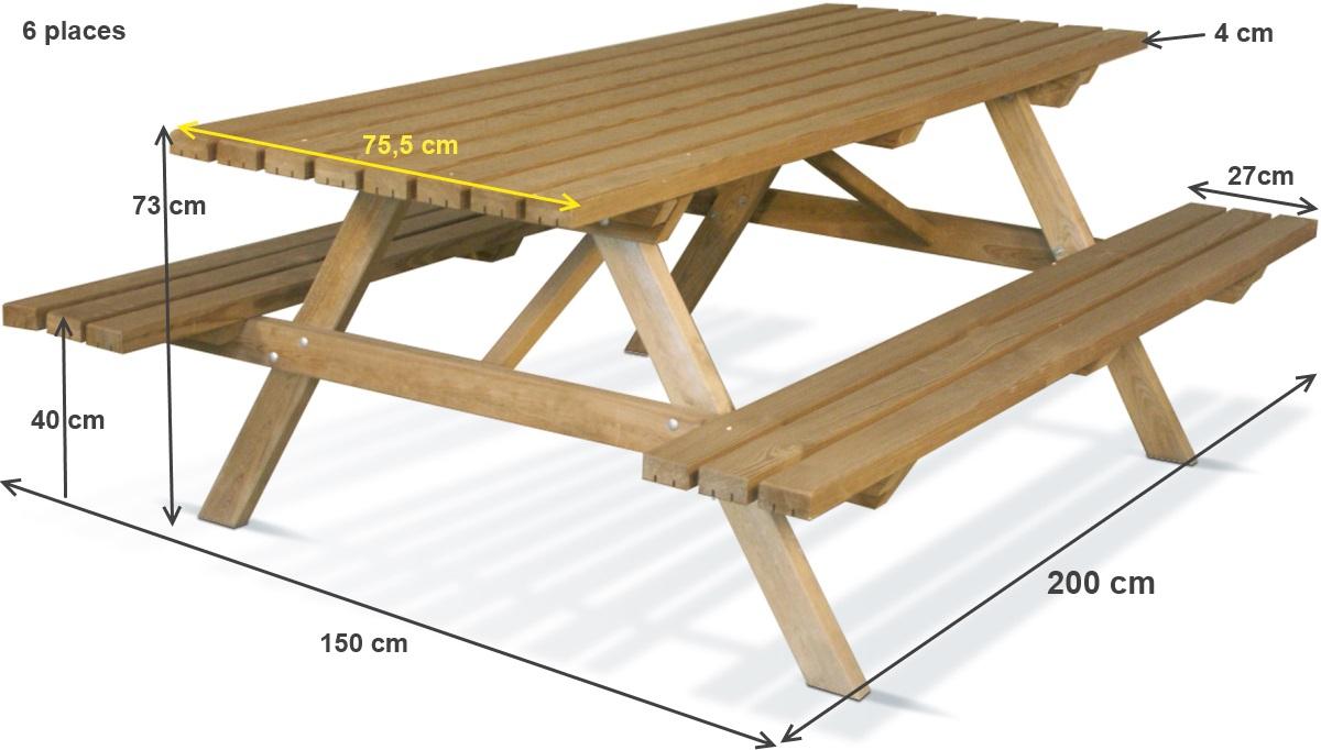 Table Pique Nique En Bois, Forestière, 200X75 Cm, Achat/vente Pas Cher serapportantà Table Jardin Bois Enfant