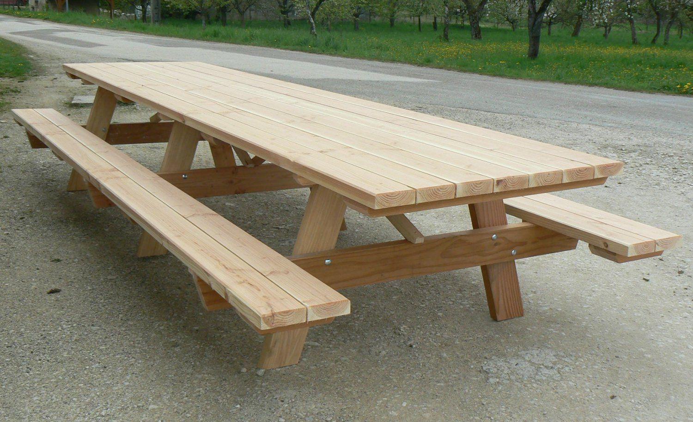 Table Pique-Nique En Bois Massif | Table De Jardin Bois ... avec Table De Jardin Pique Nique Bois