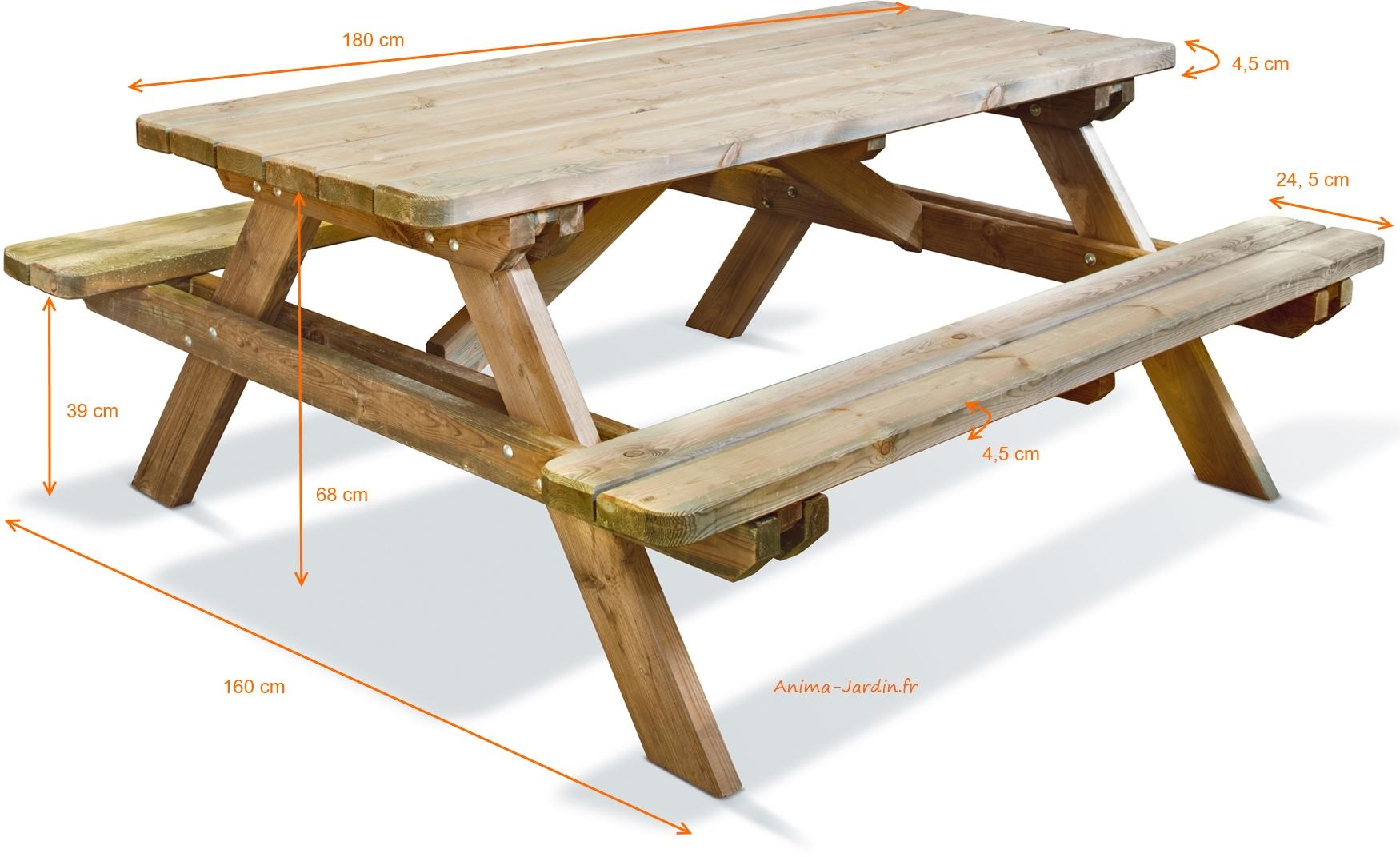 Table Pique Nique En Bois Traité Autoclave, Forestière,180 ... tout Table De Jardin Pique Nique Bois