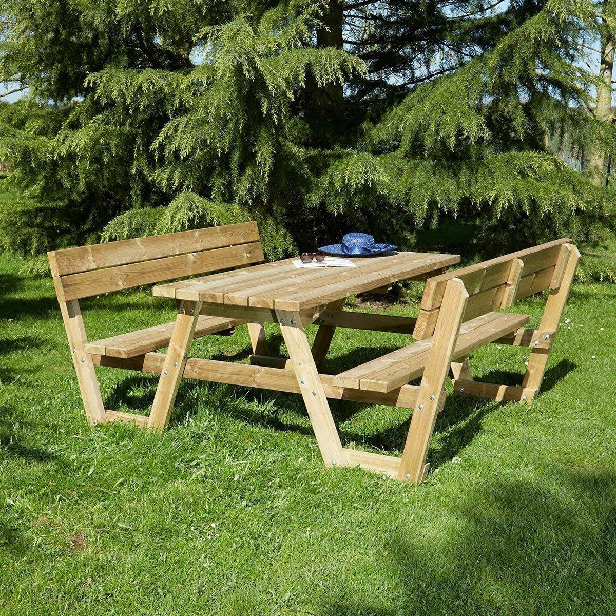 Table Pique Nique En Bois Versailles Avec Dossiers 6 Places ... avec Table De Jardin En Bois Pas Cher