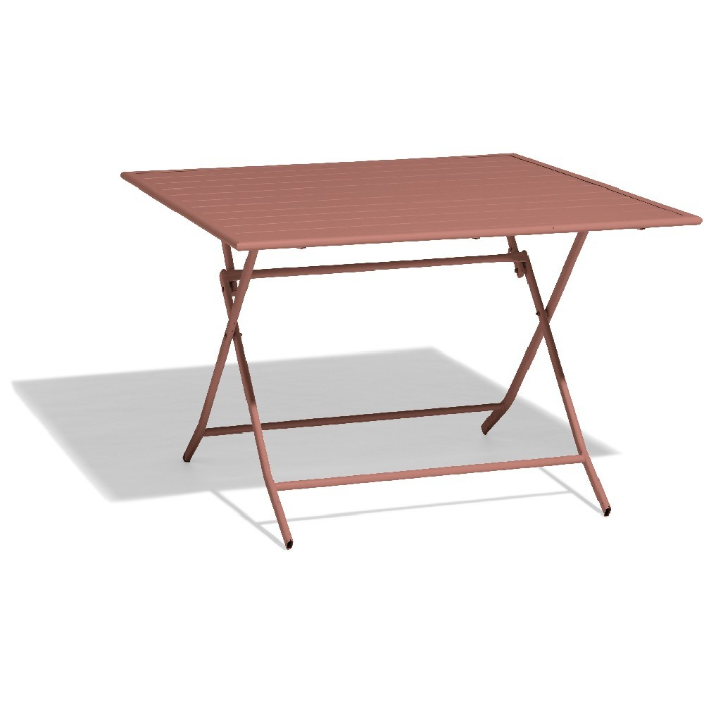 Table Pliante À Lattes Scotland 4 Personnes Rouge Terracotta à Table Jardin 4 Personnes