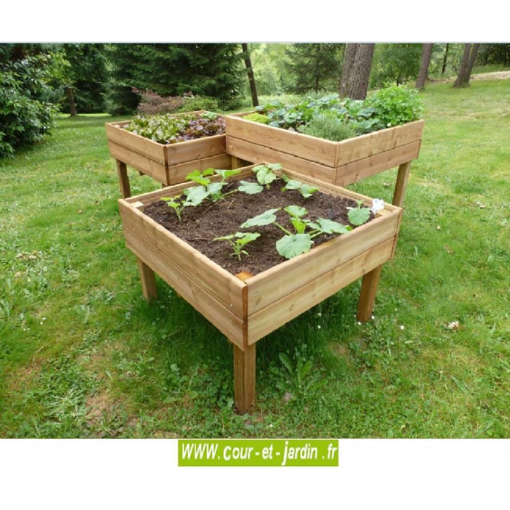 Table Potagère 100 X 100 Cm. Carré Sur Pied - Carre Potager ... avec Carré De Jardin En Bois