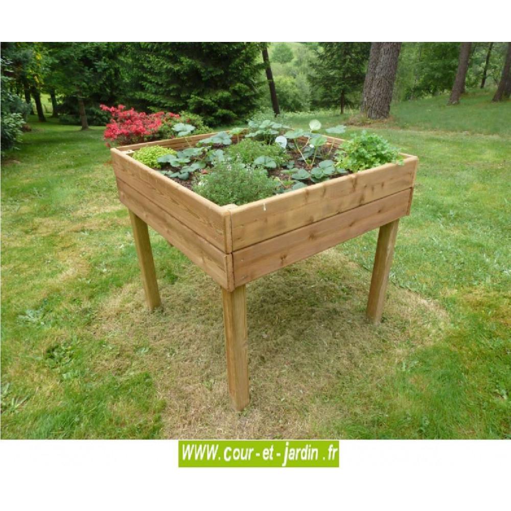 Table Potagère 100 X 100 Cm. Carré Sur Pied - Carre Potager ... serapportantà Carré De Jardin En Bois