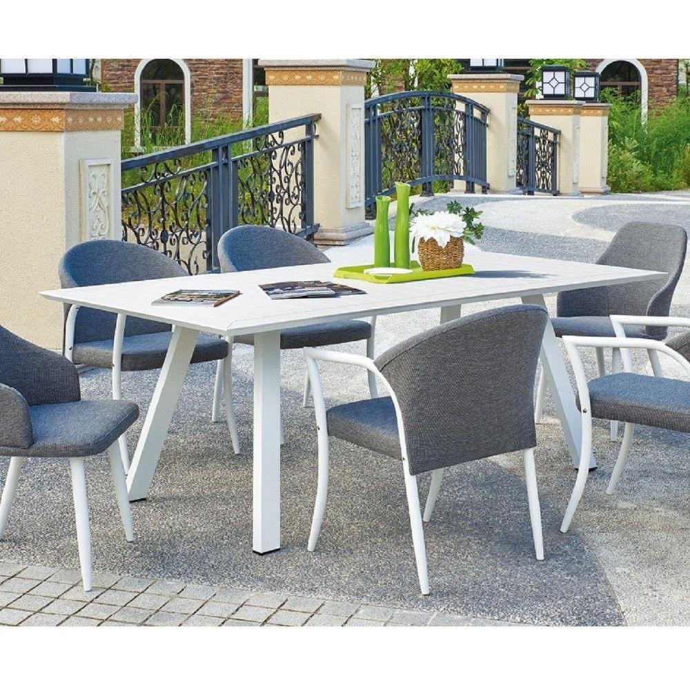 Table Rectangulaire Blanche 220X110Xh76Cm Extérieur Mobilier De Jardin 50667 serapportantà Table De Jardin Brico