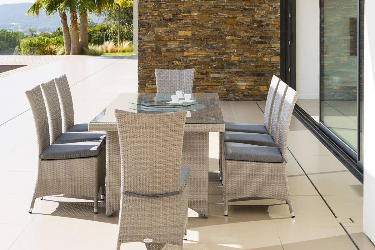 Table Rectangulaire Cuba Grège 8 Places - Aluminium, Résine ... pour Salon De Jardin Verre Trempé