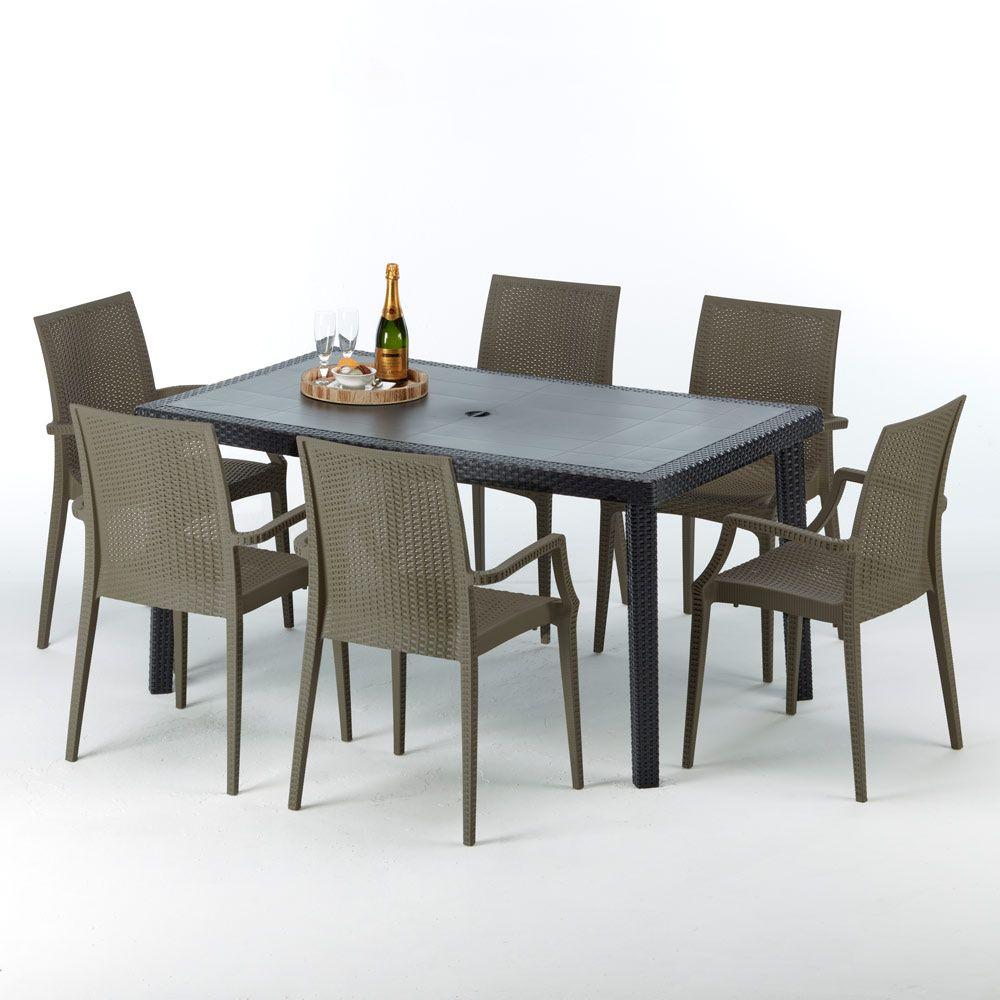 Table Rectangulaire Et 6 Chaises Poly Rotin Colorées 150X90 ... avec Salon De Jardin En Métal Pas Cher