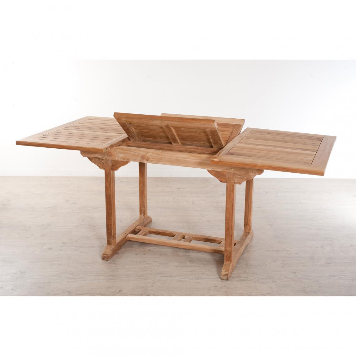 Table Rectangulaire Extensible 4/6 Personnes En Teck Massif - Teck pour Table Jardin 6 Personnes