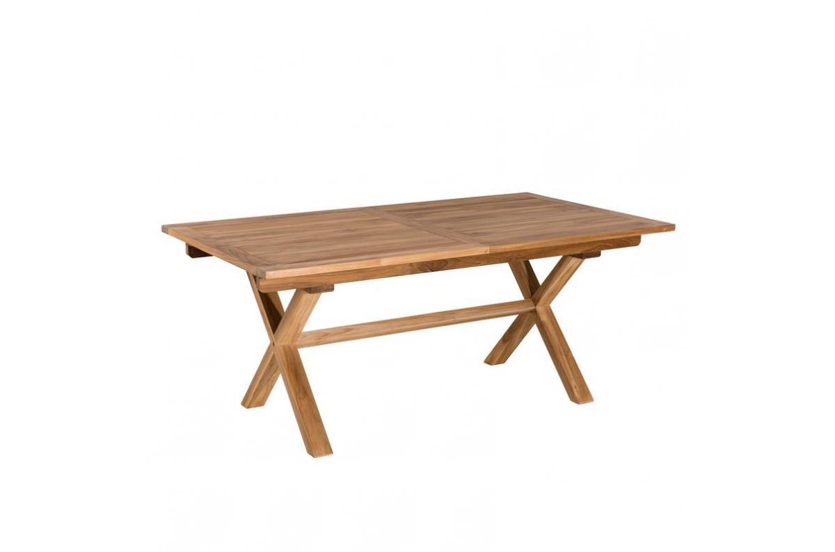 Table Rectangulaire Extensible Pieds Croisés En Teck Massif Plus D's dedans Salon De Jardin En Teck Pas Cher